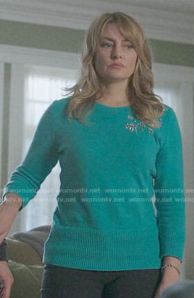 Alice's green embellished sweater on Riverdale