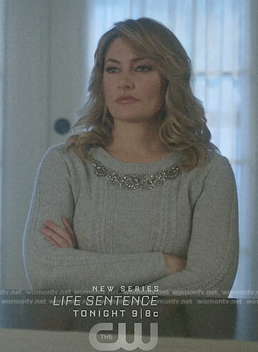 Alice's grey bead embellished sweater on Riverdale