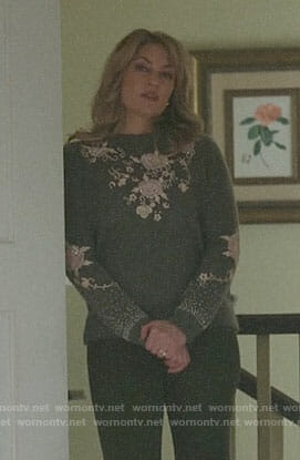 Alice's grey floral embellished sweater on Riverdale