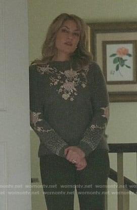 Alice's grey floral embellished sweater on Riverdale