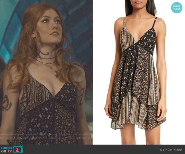 Delilah Tiered Print Stretch Silk Dress by Alice + Olivia worn by Katherine McNamara on Shadowhunters