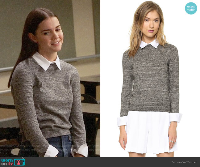 Alice + Olivia Fitted Collar Sweater worn by Maia Mitchell on The Fosters