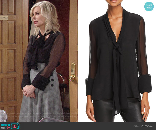Alice + Olivia Gwenda Blouse worn by Ashley Abbott (Eileen Davidson) on The Young & the Restless