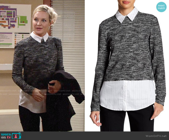 Alice + Olivia Maelynn Sweater worn by Sharon Case on The Young & the Restless