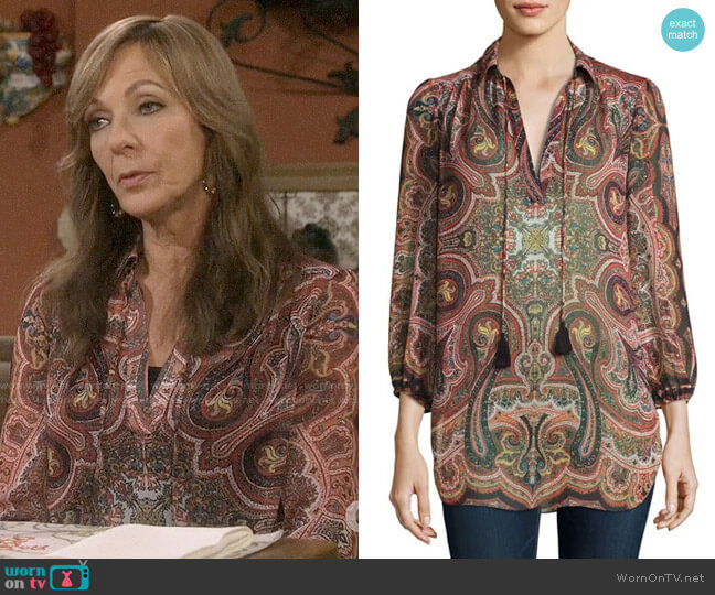 Alice + Olivia Sterling Blouse worn by Bonnie Plunkett (Allison Janney) on Mom