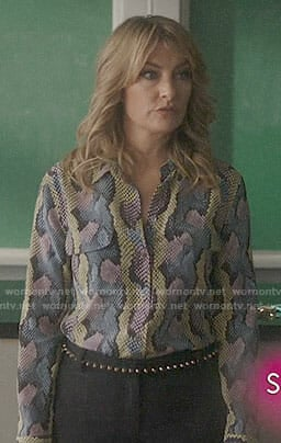 Alice's snake print blouse on Riverdale