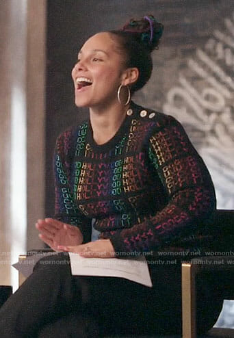 Alicia Keys's Hollywood sweater on The Voice