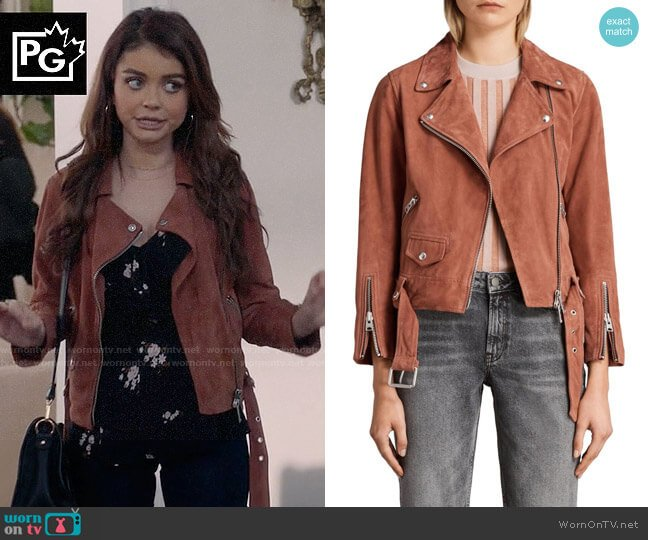 All Saints Cole Suede Biker Jacket worn by Sarah Hyland on Modern Family