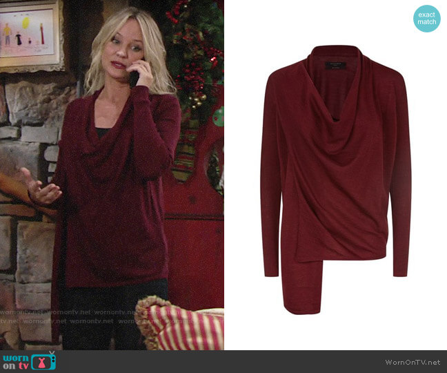 All Saints Drina Cardigan worn by Sharon Collins (Sharon Case) on The Young & the Restless