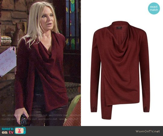 All Saints Drina Cardigan worn by Sharon Case on The Young & the Restless