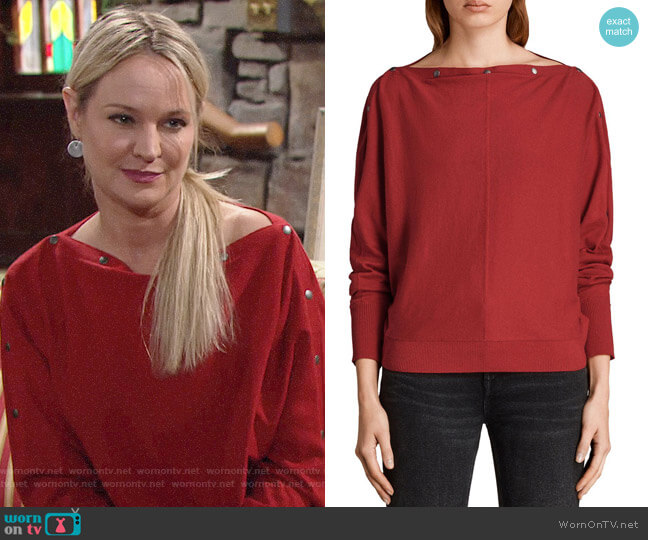 All Saints Red Elle Sweater worn by Sharon Collins (Sharon Case) on The Young & the Restless