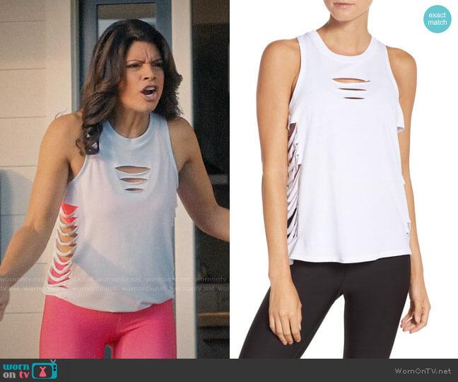 Alo Yoga Cut It Out Long Tank worn by Andrea Navedo on Jane the Virgin