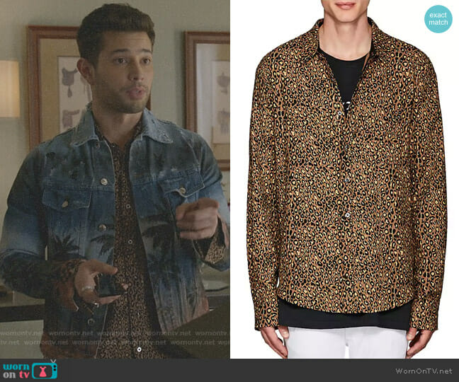 Leopard-Print Cotton-Cashmere Shirt by Amiri worn by Rafael de la Fuente on Dynasty