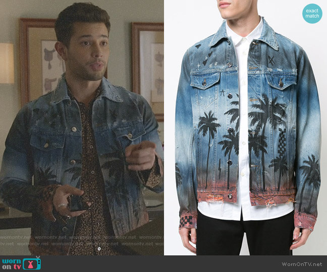 Palm Denim Trucker jacket by Amiri worn by Rafael de la Fuente on Dynasty