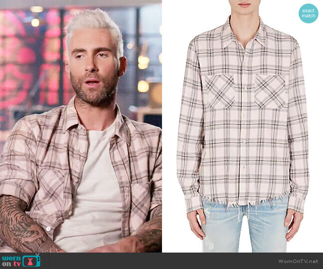 Amiri Faded Plaid Cotton-Cashmere Flannel Shirt worn by Adam Levine on The Voice