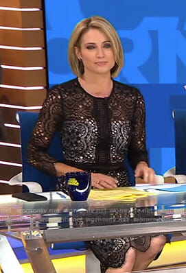 Amy's black lace scalloped hem dress on Good Morning America