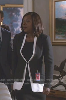 Annalise Keating's black and white layered blazer on Scandal