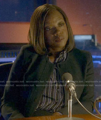 Annalise's blue and black striped shirt on How to Get Away with Murder