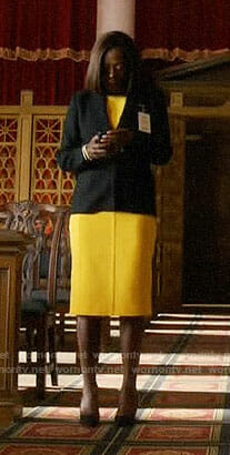 Annalise's yellow dress and black blazer on How to Get Away with Murder