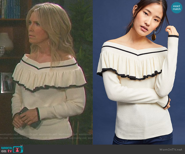Ruffled Off-The-Shoulder Pullover by Anthropologie worn by Melissa Reeves on Days of our Lives