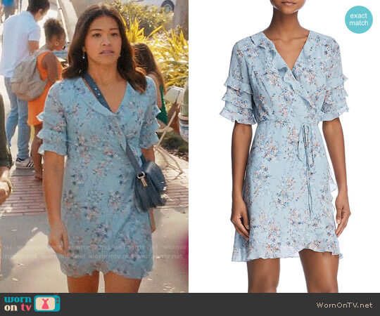 Aqua Ruffled Floral Print Wrap Dress worn by Gina Rodriguez on Jane the Virgin