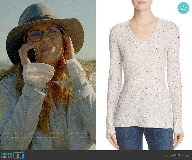 Aqua V-Neck Cashmere Sweater in Ash Nep worn by Connie Britton on 9-1-1