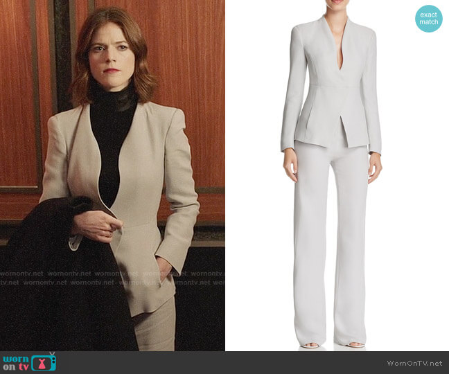 Armani Collezioni Collarless Blazer and Pants worn by Maia Rindell (Rose Leslie) on The Good Fight