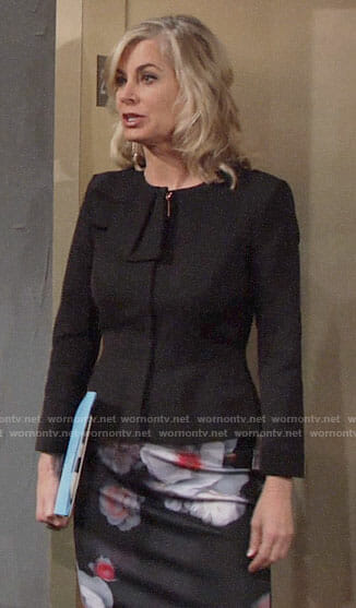 Ashley's black bow jacket and floral pencil skirt on The Young and the Restless