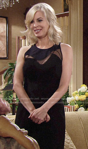 Ashley's black wavy mesh panel dress on The Young and the Restless