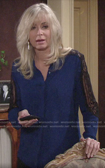 Ashley's blue blouse with black lace sleeves on The Young and the Restless