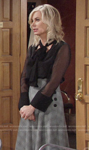 Ashley's black blouse and plaid midi skirt on The Young and the Restless