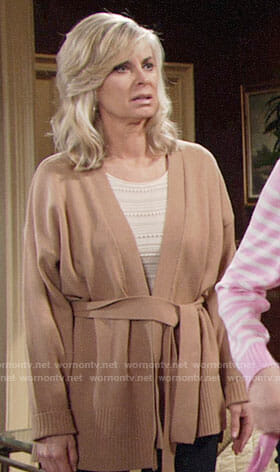 Ashley's camel belted cardigan on The Young and the Restless