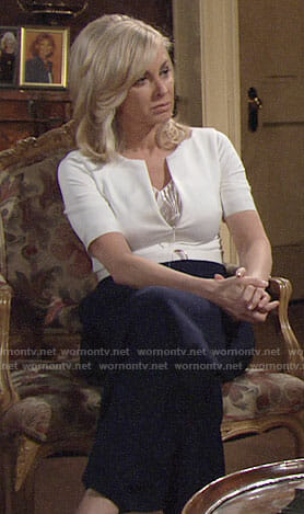Ashley's white and navy belted jumpsuit on The Young and the Restless