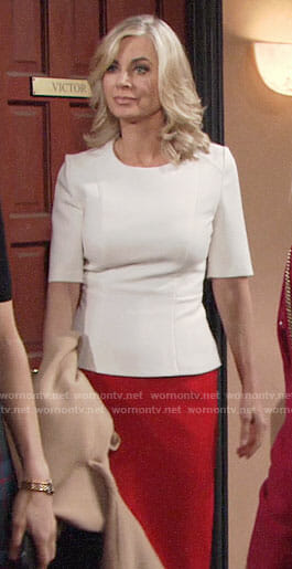 Ashley's white peplum top and red pencil skirt on The Young and the Restless