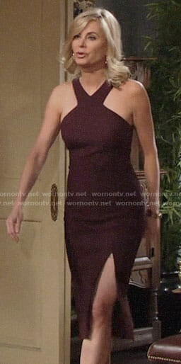 Ashley's burgundy v-neck dress on The Young and the Restless