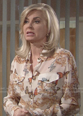 Ashley's butterfly print blouse on The Young and the Restless