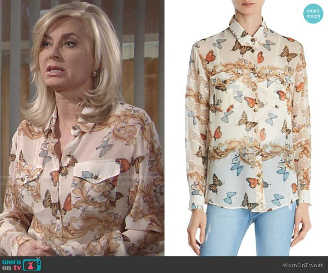 The Kooples Butterfly Print Silk Shirt worn by Ashley Abbott (Eileen Davidson) on The Young & the Restless