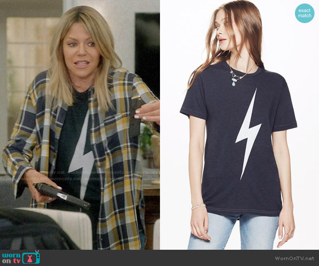 Aviator Nation Bolt Crew Tee worn by Kaitlin Olson on The Mick