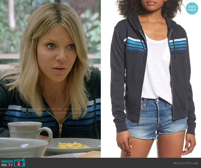 Aviator Nation 5-Stripe Zip Hoodie worn by Kaitlin Olson on The Mick
