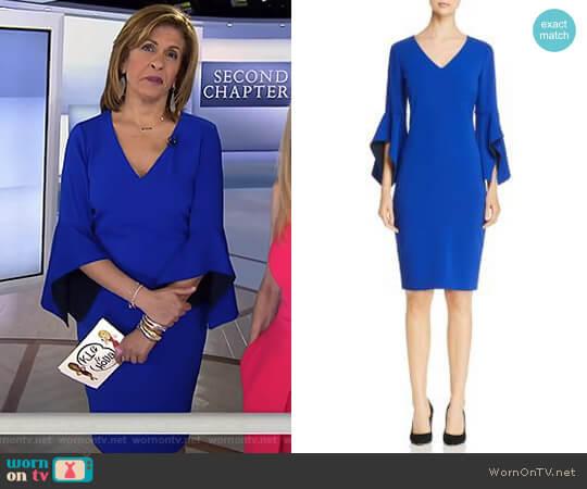 Contrast Bell Sleeve Dress by Badgley Mischka worn by Hoda Kotb on Today
