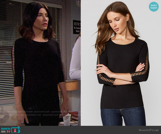 Bailey 44 Joan Top worn by Jacqueline MacInnes Wood on The Bold & the Beautiful