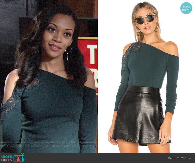 Bailey 44 Night Terror Top worn by Hilary Curtis (Mishael Morgan) on The Young & the Restless