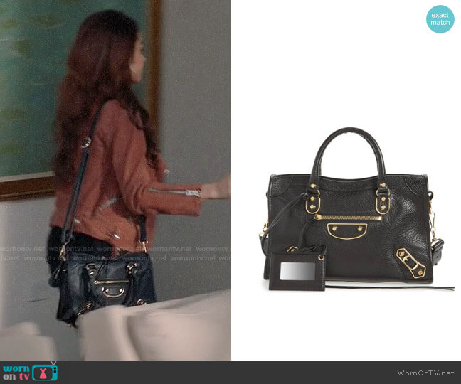 Balenciaga Small Classic Metallic Edge City Leather Tote worn by Sarah Hyland on Modern Family