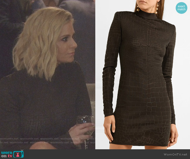 Croc-Effect Knitted Mini Dress by Balmain worn by Dorit Kemsley  on The Real Housewives of Beverly Hills