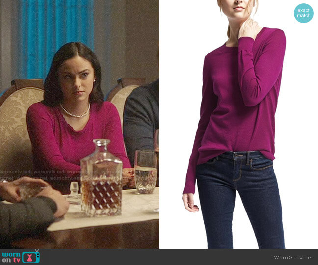 Banana Republic Merino Scallop Crew Sweater worn by Veronica Lodge (Camila Mendes) on Riverdale