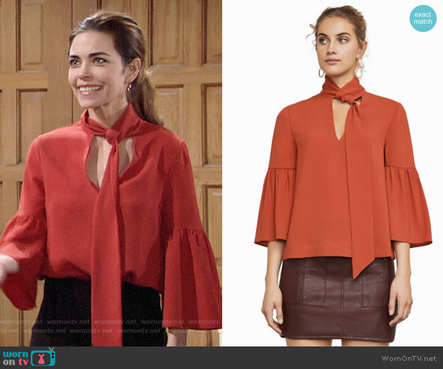 Bcbgmaxazria Mellie Top worn by Victoria Newman (Amelia Heinle) on The Young & the Restless