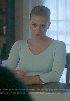Betty's mint scalloped sleeve sweater on Riverdale