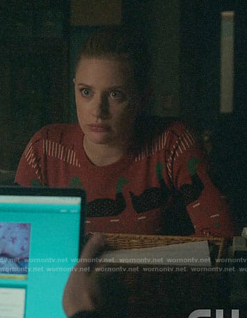 Betty's orange duck print sweater on Riverdale