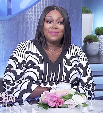 Loni's black and white print dress on The Real