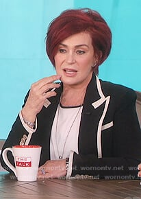 Sharon's black contrast trimmed blazer on The Talk
